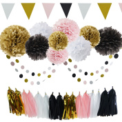 35pcs Black Pink White Gold Tissue Paper Pom Pom Paper Tassel Garland Circle Garland Triangle Banner Party Decoration Kit for Baby Shower, Birthday Party, Baby Shower Parisian, French, Paris