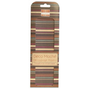 Multi-Stripe (Brown) Deco Mache x 3 Paper Sheets Tissue Patch Craft Trimcraft