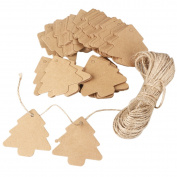NUOLUX Kraft Paper Tags Brown 100pcs Christmas Tree Decration with 20M Rope