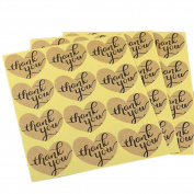 120 Pcs Heart Shape Thank You Kraft Paper Stickers Label Seals For DIY Craft Wedding Party Scrapbooking Gift Wrap