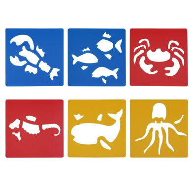 LGEGE Assorted Colours Plastic marine animal painting Stencils for Kids Crafts (Hippocampus, octopus, crab, whale, lobster, carp)