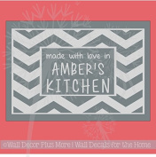Chevron Framed Vinyl Sticker Decal Stencil for Etching on 9x13 Glass Dish Custom Name Kitchen