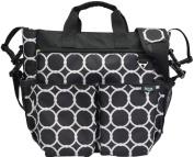 Terra Baby Mommy Designer Shoulder Nappy Bag Set, Classic Black/White Dot