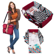 Premium 3 in 1 Nappy Bag Travel Bassinet Change Station(Red) Multifunction Tote Bag - Baby Carry Cot - Portable Travelling Crib for baby Boy or baby Girl