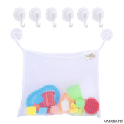 Bath Toy Organiser Set - 2 Extra Large Mesh Bags - 6 Extra Strong Grip Lock Suction Cup Hooks (White) - Easy Storage of Bath Toys and Other Bathroom Items - Mesh Bags Allow Content to Dry