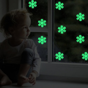 Christmas Snowflakes Wall Decals Decorations Glow in the Dark, Feskin Snow Flowers Window Stickers for Xmas Party Kids Home Room Decor