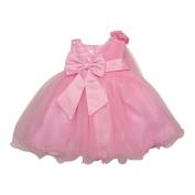 Baby Girls Pink Sequin Hand Beaded Shoulder Overlaid Flower Girl Dress 6-24M