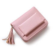HeySun Women's PU Leather Casual Small Wallet Simple Coin Purse with Tassels