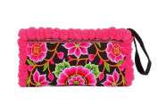 ETHNIC LANNA Hmong Pink Mandala Flowers Wristlet Clutch Bag, Superior Embroidered Fabric