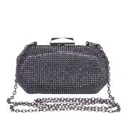Hflove Womens Black Rhinestone Clutch Bag Ladies Evening Bag Bride Shoulder Bag with Chain
