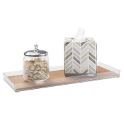 mDesign Vanity Cosmetic Organiser Tray for Makeup, Beauty Products, Jewellery - Clear/Natural Bamboo