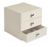 mDesign 3 Drawer Storage Organiser for Cosmetics, Makeup, Beauty Products, Office Supplies - Ecru