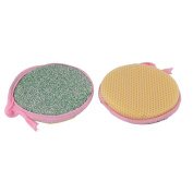 uxcell® Tableware Round Bowl Plate Duster Cleaning Cloth Scrub Sponge 2pcs