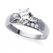 14K White Gold 1 Carat Round CZ Solitaire Wedding Engagement Ring