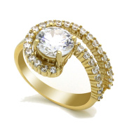 14K Yellow Gold 2 Carat Round CZ Solitaire Wedding Engagement Ring