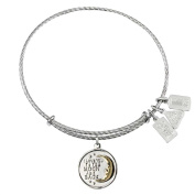 Wind and Fire I Love You To The Moon And Back Sterling Silver Charm Bangle
