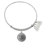 Wind and Fire Tree of Life Sterling Silver Charm Bangle