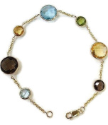 Multi-Colour Round 18cm Bracelet,14K Yellow Gold Chain & Lobster Lock