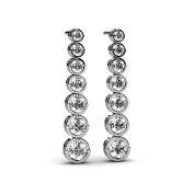 3.00 ct. Round Diamond Seven Stone Graduated Drop Journey Earrings in Bezel Setting
