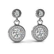 2.40 ct. Round Diamond Two Stone Halo Drop Earrings