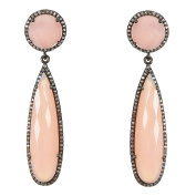Pink Chalcedony and Champagne Diamond Gillian Earrings