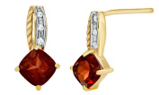 5.00 mm Cushion Cut Garnent & Natural Daimond 14k Solid Gold Dangle Earrings