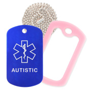 Autistic Medical Alert ID Necklace with Blue Tag, Pink Silencer, and 80cm USA Chain - 154 Colour Choices