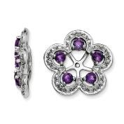 .925 Sterling Silver Genuine Diamond & Amethyst Earring Jackets