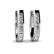 1.40 ct. Princess Cut Diamond Channel Set Latch Back Huggie Earrings