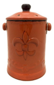 Tuscany Colourful Fleur De Lis, Hand Painted Ceramic Compost Jar, 82094 By ACK