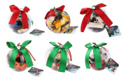 Christmas Ornament filled with Building Brick blocks toys, 6 Ornaments different bricks to build Aeroplane helicopter police Fire construction race car, Stocking Stuffers Xmas Gifts for Kids boys girls