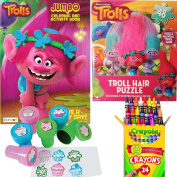 Dreamworks Trolls Colouring Book, Puzzle and Stamper Activity Set - Include 1 Colouring Book (96 pages) , Trolls Puzzle , 24 Crayola Crayons and 6 Stampers