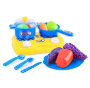 Rukiwa15pcs Plastic Kids Children Kitchen Utensils Food Cooking Pretend Play Set Toy
