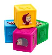 [RusToyShop] 4psc squeak rubber cubes Masha and the Bear Bath Toys tiger , Masha Russian Cartoon, Toy Rubber 14 Cm Gift