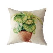 """Monkeysell hand-painted Figure Colourful Cartoon Small and Pure and Fresh Flowers Grass Drawing or Pattern office waist support linen quare Decorative Fashion Throw Pillow Cover -18""""X18"""""""