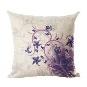 Monkeysell Retro Flowers and Butterfly Patterns Cotton Linen Decorative Throw Pillow Case Cushion Cover Body Pillowcovers 46cm x 46cm