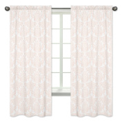Blush Pink and White Damask Girls Window Treatment Panels Curtains for Amelia Bedding Collection - Set of 2