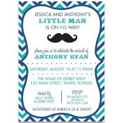 Little Man, Baby Shower, Invitations, Chevron Stripes, Moustache, Navy, Blue, Aqua, Hipster, Boys, 10 Custom Printed Invites with Envelopes,,