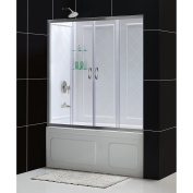 DreamLine Visions 70cm - 80cm . D x 140cm - 150cm . W Kit, with Sliding Tub Door in Brushed Nickel and White Acrylic Backwalls