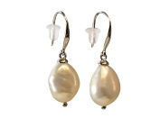 HinsonGayle AAA Handpicked 9-9.5mm Baroque Freshwater Cultured Pearl Dangle Earrings Sterling Silver