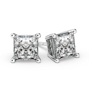 NANA Sterling Silver Princess CZ Stud Earrings with 14k Solid Gold Post 1.5 - 4 CTW
