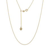 10K Fine Gold Adjustable Wheat Chain necklace, 60cm