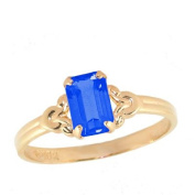 Size 4 Girl's 10K Yellow Gold Simulated Birthstone Ring