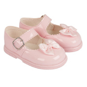 Baypods first walking shoe. Hardsole Patent baby girl shoe in Ivory, White, Red or Pink in Sizes 2 - 6 (UK 2,