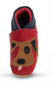 Three Little Imps Handmade Soft Leather Toddler Shoes - Playful Dog on Red 12 - 18m