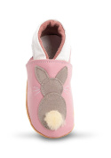 Three Little Imps Handmade Soft Leather Toddler Shoes - Bouncing Grey Bunny Rabbit on Pink 12 - 18m