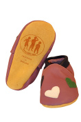 Three Little Imps Handmade Soft Leather Toddler Shoes - Warm Hearts on Lilac 12 - 18m