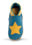 Three Little Imps Handmade Soft Leather Toddler Shoes - Twinkly Yellow Star on Blue 6 - 12m