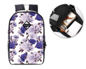 DSstyles Flower Print Gilrs Casual Style Backpack Shoulder Bag School Bookbag Travel Rucksack - Purple