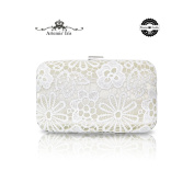 Artemis'Iris Elegant Silver Lace Clutch Bag, Brand New Designer Ladies Handbag, Evening Clutches For a Night Out